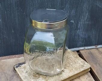 Vintage Limpert's Ice Cream Parlor Sprinkles Jar With Hinged Lid