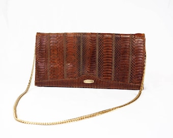 Vintage Brown Snakeskin Leather Evening Bag Clutch Purse with Gold Chain Strap - Made in Spain