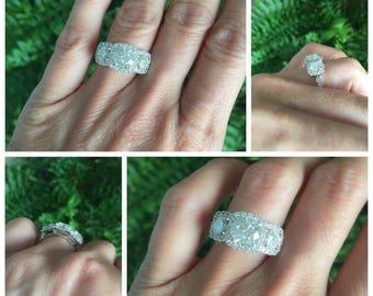 Moissanite Engagement Ring 2.50ctw Forever One Moissanite Ring  .63 Natural Diamonds 18k White Gold Anniversary Ring Pristine Custom Rings