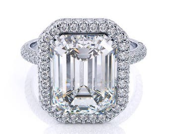 Emerald Cut Forever One Moissanite Ring 3.55ct Moissanite Engagement Ring .70ct Genuine Diamonds Deco Martini Halo Pristine Custom Rings
