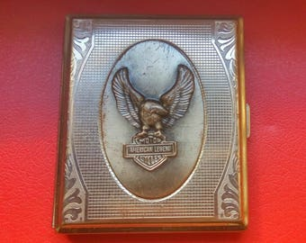 Vintage metal cigarette case eagle  American legend Motor cycles Made in Germany