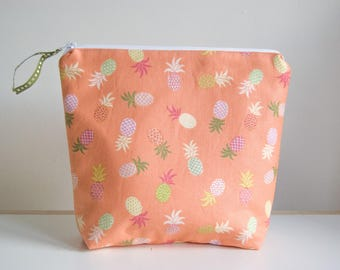 Large Handmade Cosmetic/Toiletry/Wash Bag - Holidays - Travel - Pineapples (Orange)