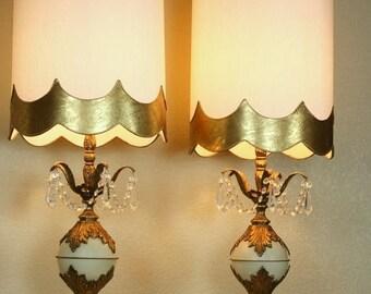 Vintage Hollywood Regency Lamps, Crystal Lamps, Retro Lighting, Vintage 60's Pair Table Lamps