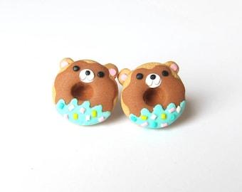 Donut Earrings, Doughnut Earrings, Donuts Jewelry, Bear Earrings, Kawaii Earrings, Stud Earrings, Food Earrings, Cute Earrings Girls Jewelry