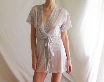 70s Nylon and Lace Robe XS S