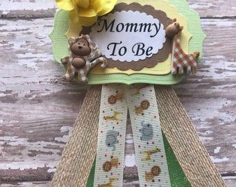 Safari Mommy To Be Corsage Safari Animal Theme Corsage Badge