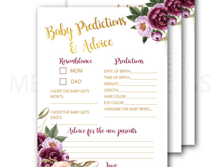 Burgundy Baby Predictions and Advice Card // Baby Shower // Marsala // Gold // Peonies // Floral // Printed // FLORENCE COLLECTION
