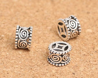 Two (2) THAI .925 Sterling Silver 8mm x 5mm Ornate Column Spacer Beads #200