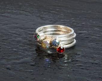 "Sterling Silver & Vintage Swarovski Crystal Stacker Ring (""Aurora Borealis"" gems)"