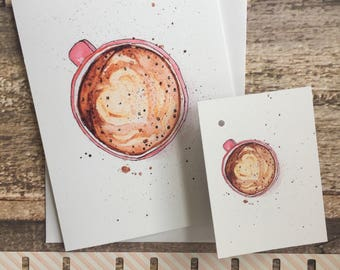 Watercolour illustration greeting card plus matching gift tag.  Yummy milk foam heart cappuccino coffee cup