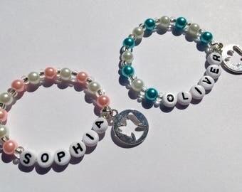 Baby Christening bracelet Baptism bracelet blue pink pearl christening bracelet personalized angel bracelet religion bracelet church jewelry