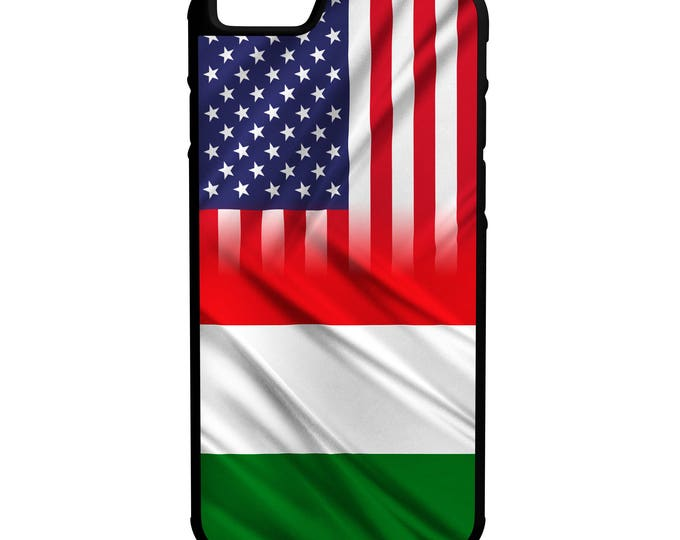 Italy American Flag Hybrid Rubber Protective Phone Case Fits iPhone, Galaxy, Note, HTC, and LG