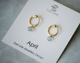 14K gold plated natural stones April Birthstone stud drop earrings hoop birthday gift