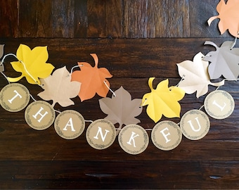 Autumn Leaves & 'THANKFUL' Banner Set