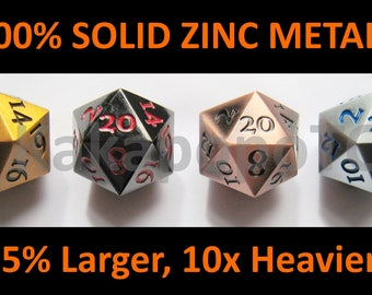 Metal Standard D20 Dice Set of 4 Extra Large Extra Heavy DND Gold Copper Black Silver Bronze Dungeons and Dragons