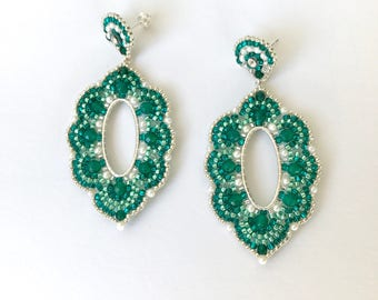 Green Emerald Beaded Earrings, Freshwater Pearl & Agate Jewelry for Special Occasion Jewelry for Women's Anniversary Gifts