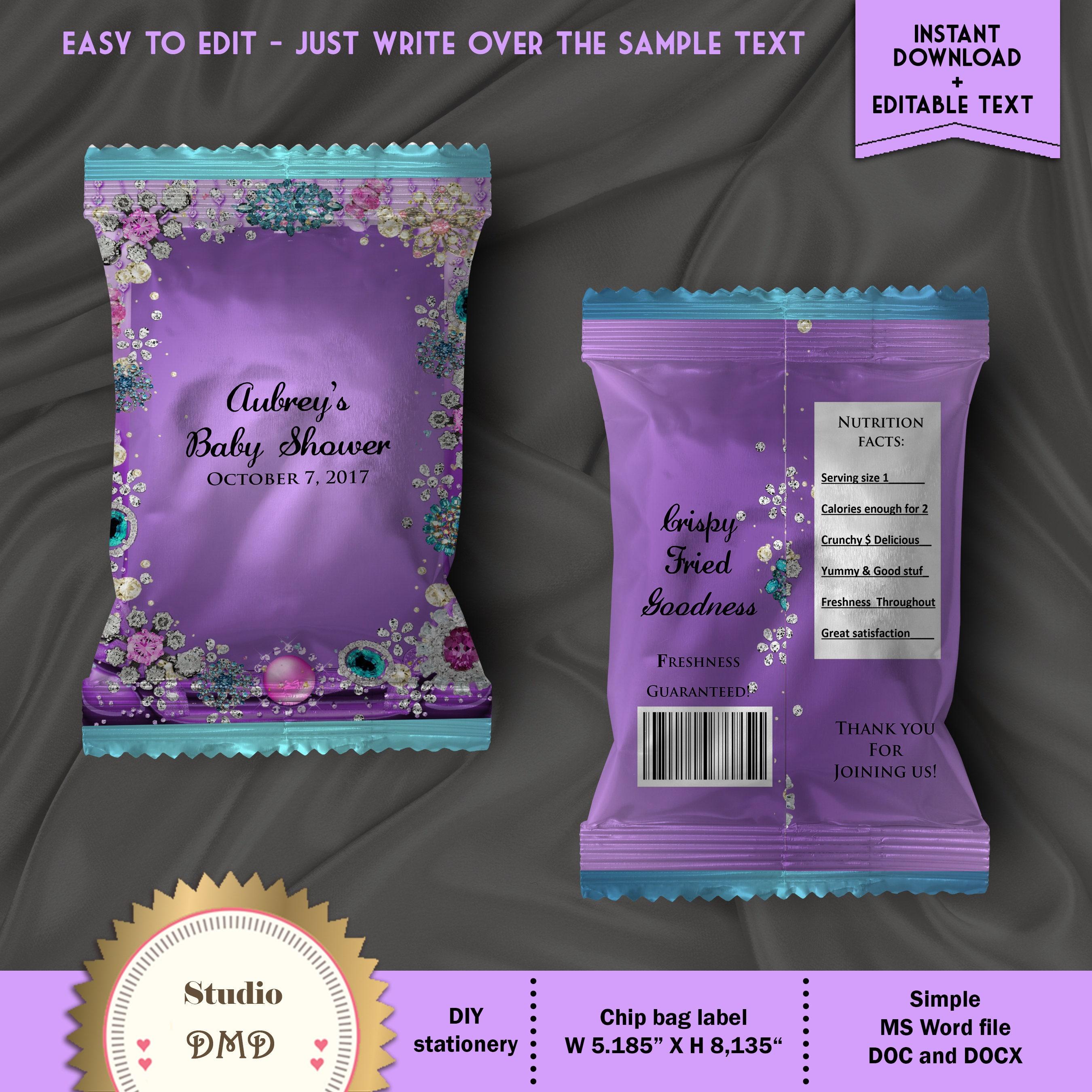 Printable Chip Bag Wrapper Labels Royal Baby Shower Little