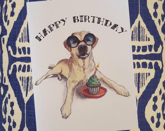 Cupcake Labrador Birthday Card