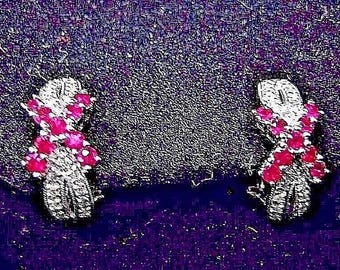 Estate X Shaped Earrings with Rubies and Diamonds in 14k White Gold