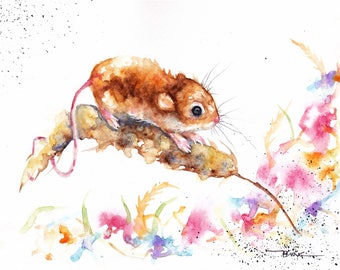 Original Watercolour Harvest Mouse Print by Artist Be Coventry Wildlife Animal Art