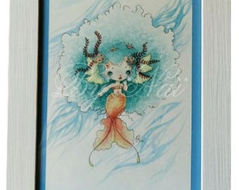 Watercolor framed to be put to the hanging, depicting a mermaid