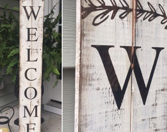 Welcome Sign Painted on Reclaimed Pallet Wood