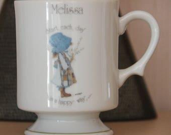 "Vintage Souvenir  1970's ""melissa"" , Holly Hobbie China Pedestal mug"