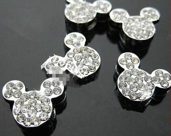 8mm Silver tone Lovely Mickey Mouse Slider Spacer Beads Pendant Charm/Finding,Dotted Around Rhinestone,for Bracelet & Necklace