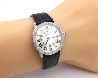 Cartier-Ronde-Solo-Steel-Ladies-Silver-Dial-Watch-W6700155 with Natural Diamond Hand set