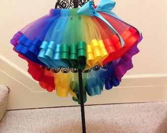 Short - Long Rainbow Ribbon Tutu, Sewn Ribbon Trimmed Tutu, Girl's Tutu, Tutu Skirt, Tutu For Girl's Birthday/Party
