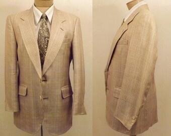 80s Glen Check Men's Vintage Sport Coat Size 40