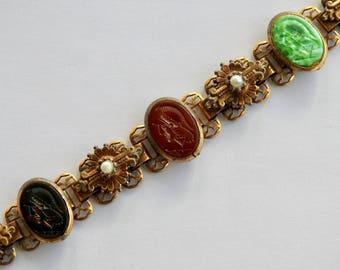 Book Chain Glass Intaglio Bracelet