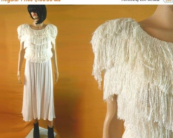 tempSALE Vintage Ivory Dress, Tassel Dress,  Wedding Dress,  Avant Garde Bridal, Fringe Tier Romantic Drape Stretch Glam Wiggle Knit White D