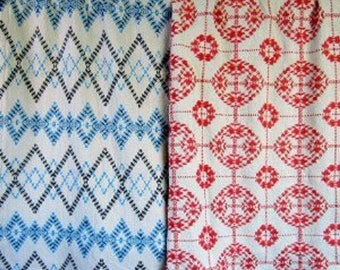 """Swedish Weave Designs """"Afghan Creations 2"""" by Katherine Kennedy  Patterns """"Argyle"""" and """"Garland"""" for Huck Embroidery on Monk's Cloth"""