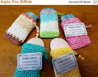 15% OFF SALE Hand-crochet Soap Saver ~ Soap saver scrubbies ~ Soap saver rags ~ Ready to ship ~ Cotton Soap saver