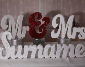 wedding gift glittered mr & mrs plus surname table decoration freestanding sign