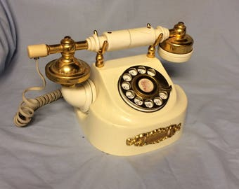French Victorian Rotary Dial Telephone Vintage WESTERN ELECTRIC Beige Dial Phone Hollywood Regency
