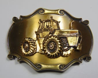 Farmers Mens Gold tone CASE Tractor Belt Buckle by Raintree Vintage