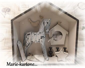 """Curiosity record """"The white horse"""" House wooden memory..."""