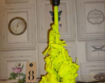 "Lamp base to put style indus ""The neon yellow"" N 8 lamp vanity metal & plastic"