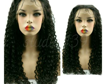 Hand made human hair lace front curly wig