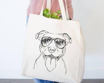 Major the Pitbull Dog Canvas Tote Bag