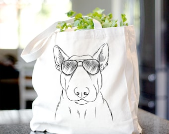 Jett the Bull Terrier Canvas Tote Bag - Gifts For Dog Owner, Dog Tote Bag, Dog Lover Bag