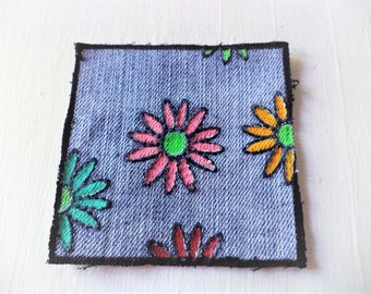 Backpack  Patch, Flower Patch,Painted Denim,Daisy Flower Painting,Painted Flower Patch, OOAK Handpainted Patch ,  Upcycled Denim