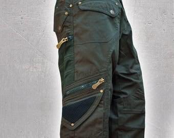 3/4 Men Cargo Pants Hipster,Tribal,Steampunk,Adventure Wear,Burning Man,Pocket Pants,Brass hard wear,Christmas Gifts For Him,Gift For Men.
