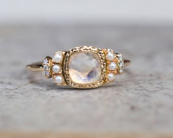 Moonstone Engagement Ring,  Diamond Ring, Multistone Ring, Vintage Style,  Unique Engagement, Fine Jewelry