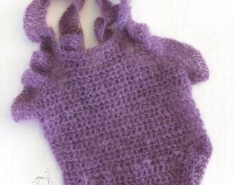 RTS, Handmade crochet mohair Newborn Baby romper, crochet baby romper, newborn photo prop, mohair baby romper, newborn photo prop, baby prop