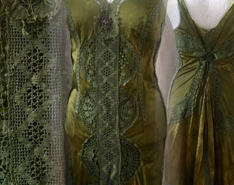 Boho dress olive green ,Vintage inspired dress, green Victorian look ,  alternative bridal gown ,shabby chic  green dress ,20s flapper dress