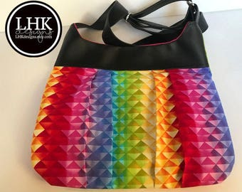 Rainbow crossbody bag purse with black faux leather trim