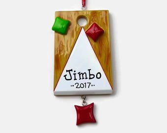 SHIPS FREE - Cornhole Personalized Ornament - Bean Bag Toss - Hand Personalized Christmas Ornament